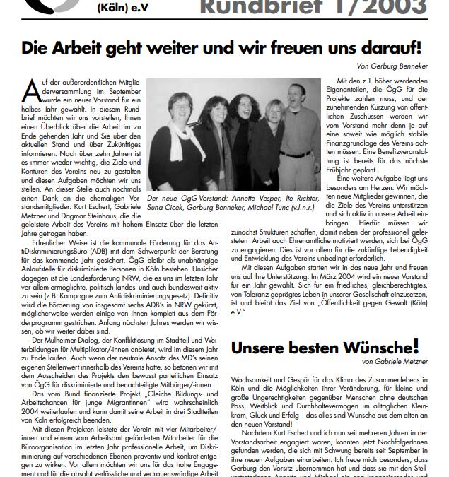 Rundbrief 2003*